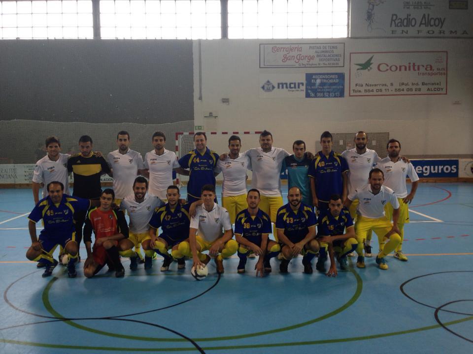 Los dos equipos de Fútbol Sala senior del C.D. Vedruna.